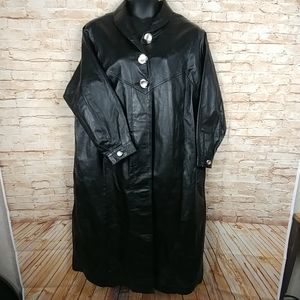 Via Accent Black Leather Full Length Coat Plus SZ